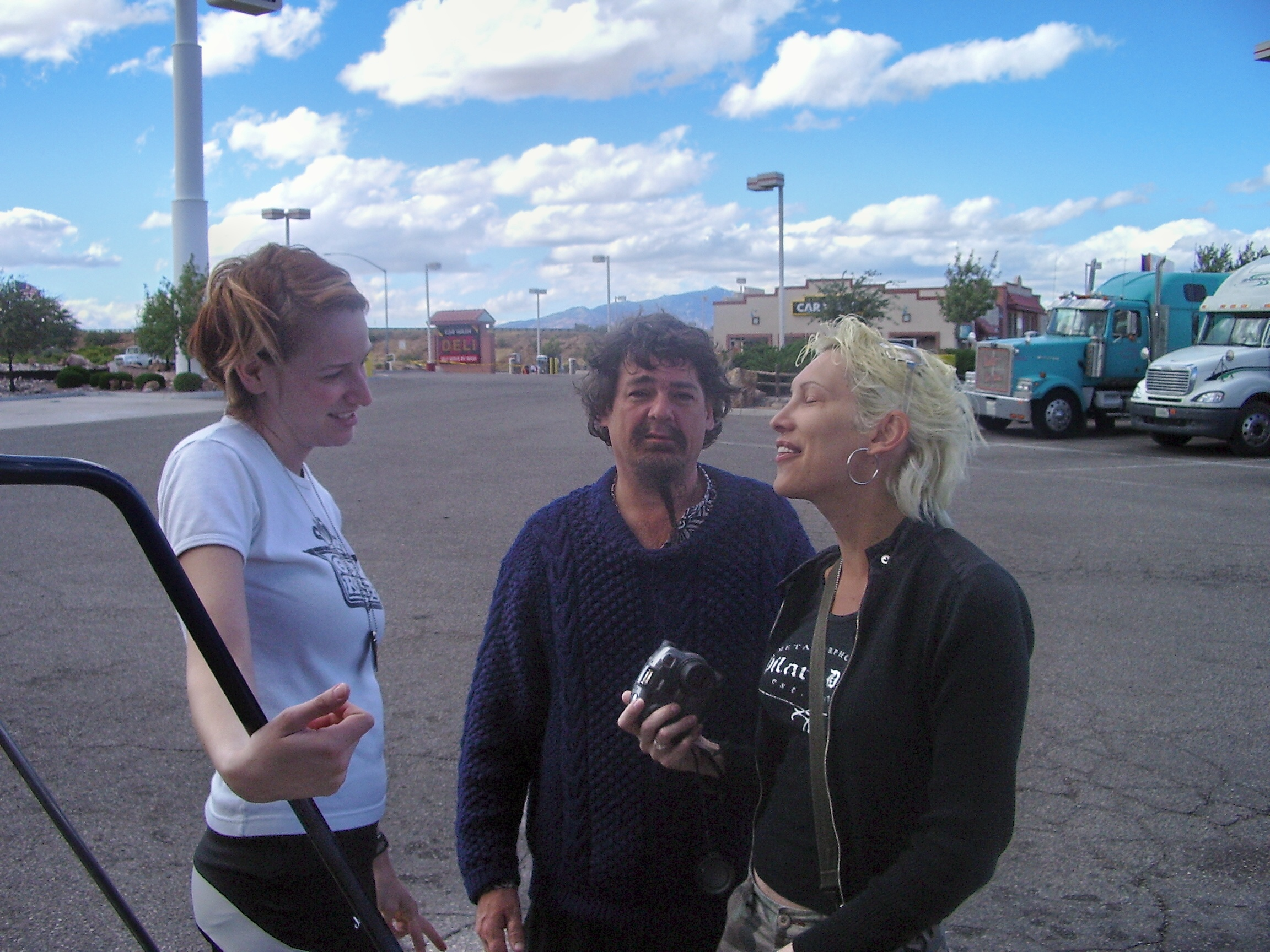 Craig and members of the crew at a desert truck stop.