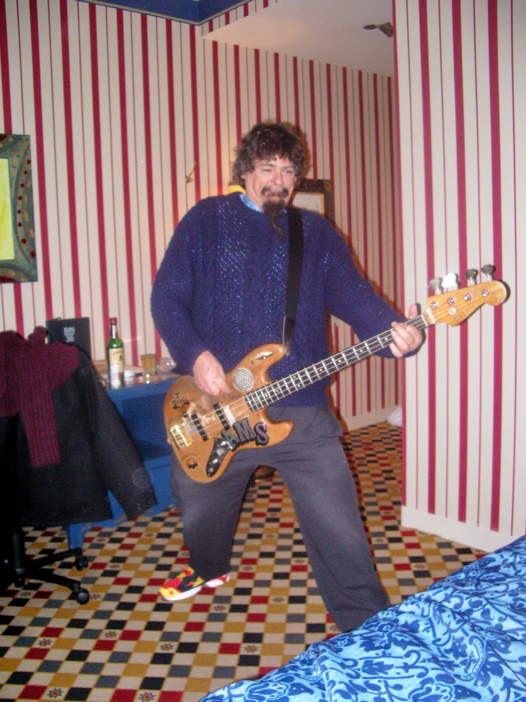 "Craig rocking out in the garishly appointed House of Blues hotel in Chicago. It was ""outsider art"" influenced and butt ugly. A seizure inducing eyesore awaited at every turn."